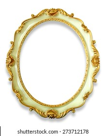 Vintage golden frame with shadow isolated on white background