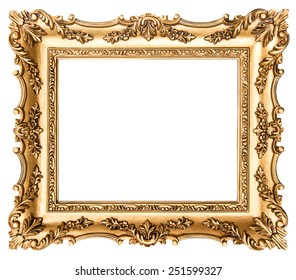 Vintage golden picture frame isolated on white background. Antique style object