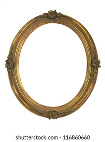 Vintage gold-tone wooden oval frame with worn patina over white.