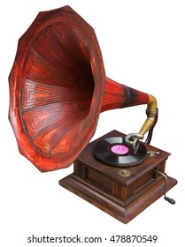 Vintage gramophone isolated on white. Clipping path included.