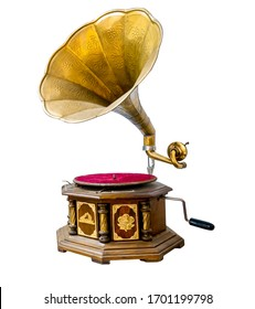 Vintage gramophone player isolate on white with clipping path for object, retro technology