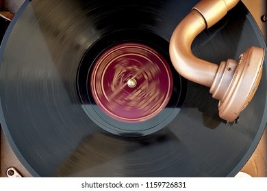 vintage gramophone and record