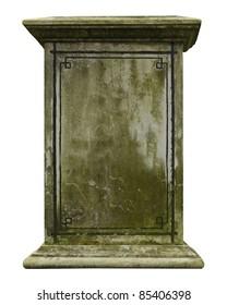Vintage gravestone isolated on white background