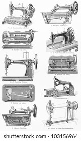 Vintage graving representing various types of sewing machine from the end of 19th century - Picture from Meyers Lexikon book (written in German language) published in 1908 Leipzig - Germany.