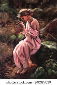 Vintage Greek Mythology Goddess girl dress nature painting