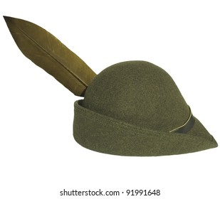 Vintage green alpine cap hat with feather - isolated over white background