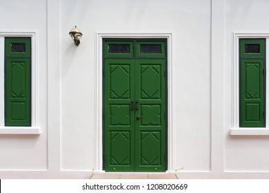 Vintage green door and windows