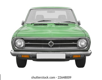 a vintage green Japanese car from the 70s isolated on white background