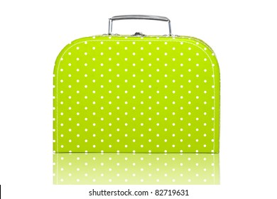 Vintage Green Polka Dot Lunch Box on white background