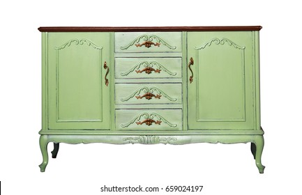 Vintage green wooden dresser isolated on white. Ethnic dresser. Antique cupboard. Clothes closet. Vanity Table