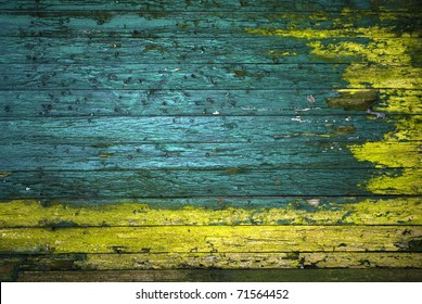 vintage green and yellow painted wooden wall