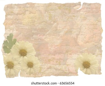 vintage grunge background with flowers