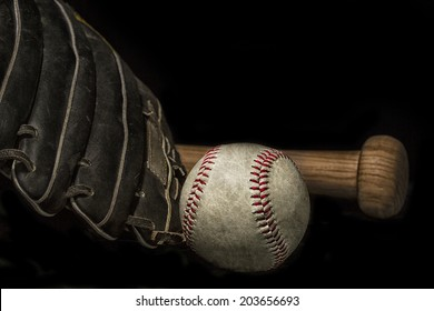 vintage grunge effect low key baseball bat, mitt glove and ball with space for text