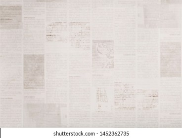 Vintage grunge newspaper paper texture background. Blurred old news background. A blur unreadable aged newspapers page with place for text. Gray brown beige collage news pages background.