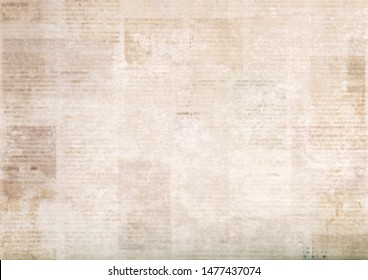 Vintage grunge newspapers paper background. Blurred old newspaper texture. A blur unreadable aged news paper page with place for text. Gray brown beige collage.