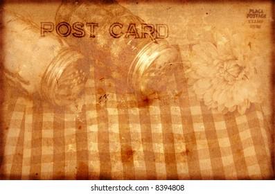 Vintage Grunge Style Postcard Background With Salt and Pepper Shaker