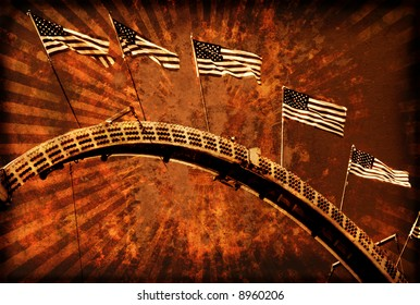 Vintage Grunge Style Rollercoaster with Flags