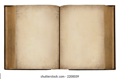 Vintage grungy Book with blank pages Text (With Clipping Path)