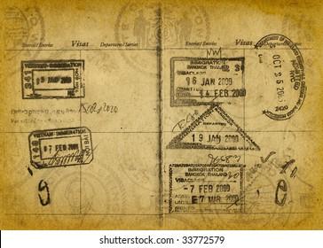 Vintage Grungy Passport Stamps