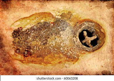 Vintage Grungy Rusty Sink Drain Background