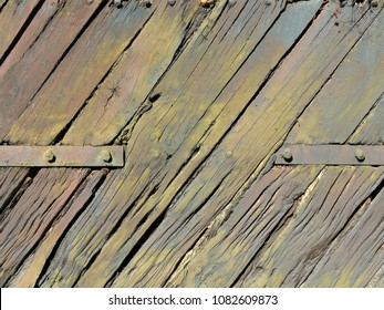 vintage grungy weathered wooden planks background with rusty metal fittings