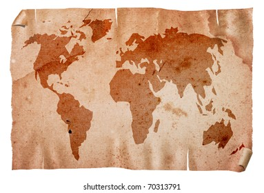 Vintage grungy world map, isolated on white background.