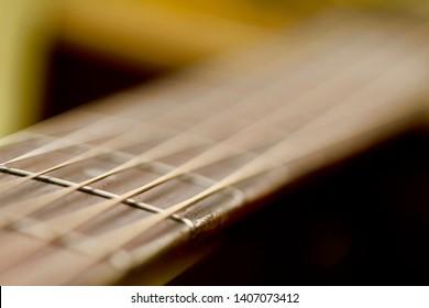 Vintage guitar fretboard and strings