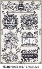 Vintage Hand Drawn Banner Blackboard. Vintage Label Engraved Chalkboard. Hand Drawn. Decoration Frame Vintages Ribbon Labels Calligraphy Element. Banner Hand Draw Engraved Frame Illustration.
