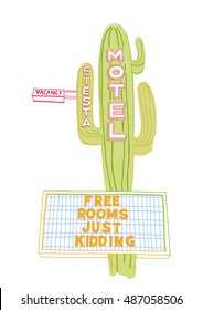 Vintage hand drawn motel sign with a cactus