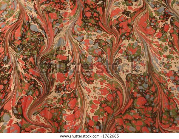 Vintage handmade Ebru marbled paper