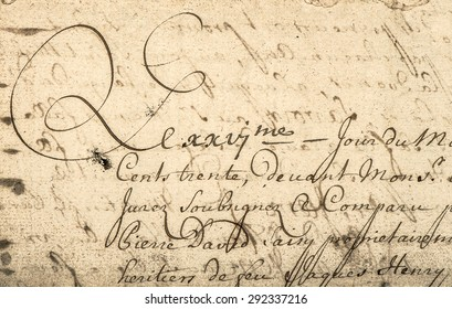 Vintage handwriting with latin text. Manuscript. Parchment. Grunge paper background