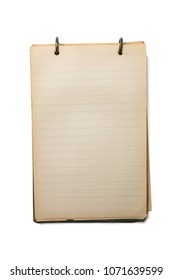 Vintage hard covered notebook, opened to a blank sheet of lined paper isolated on white, with space for text