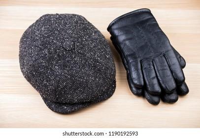 Vintage Hat gloves wooden table