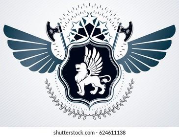 Vintage heraldry design template, emblem created using hatchets, wild lion illustration and pentagonal stars.