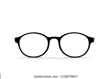Vintage hipster rounded classic eye glasses on white background.Selective focus.