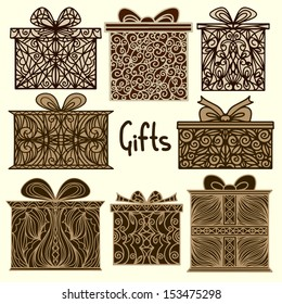 Vintage holiday background with set isolated silhouette icons gift boxes - raster version