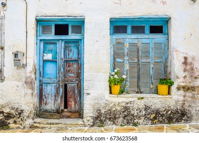 Vintage house entrance in Halki village, Naxos, Greece