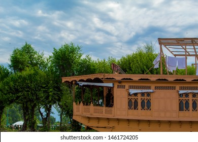 Vintage Houseboat in Kashmir Dal lake In India