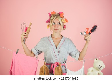 Vintage housekeeper woman. Maid or housewife cares about house. Busy mother. emotional retro housewife. Multitasking mom. Performing Different Household Duties. Taking decision.