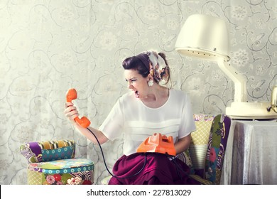 vintage housewife shouting on the phone at Salon