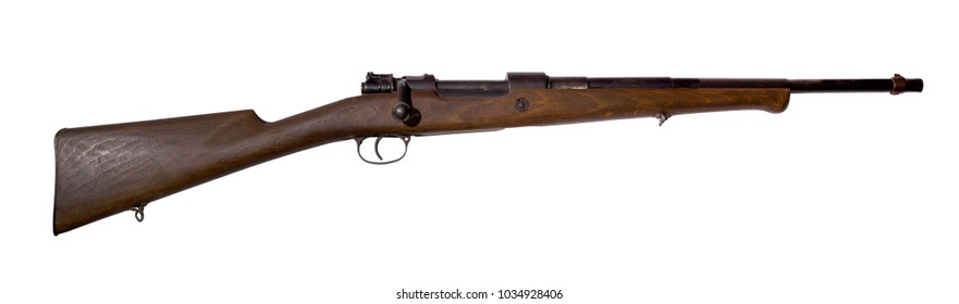 Vintage hunting rifle, converted from an army carbine, isolated