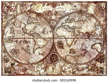 Vintage illustration with antique world atlas map. Pirate adventures, treasure hunt and old transportation concept. Grunge textured background with graphic drawings and mystic symbols