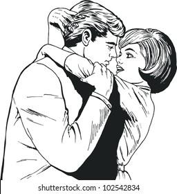 vintage Illustration ,couple of lovers