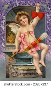 Vintage Illustration of a cupid forging two Valentine hearts, a 1911 Victorian greeting, 'Love's Token'