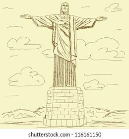 vintage illustration of famous tourist destination Christ the redeemer, Rio de Janeiro Brazil.