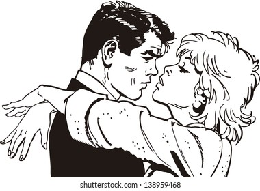 vintage Illustration ,isolated romantic couple of lovers