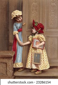 Vintage illustration of two little girl friends holding hands and greeting each other at an ornate wooden door, circa 1880