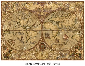 Vintage illustration with world atlas map on antique parchment. Pirate adventures, treasure hunt and old transportation concept. Grunge background with graphic drawings and mystic symbols