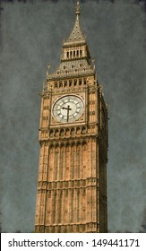 Vintage image of the Big Ben clock tower in London, UK