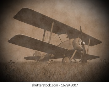 Vintage image of a biplane standing on the grass with flowers